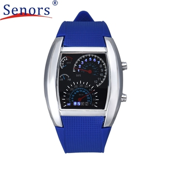 2017 Nova Moda Aviação Turbo Dial Flash LED Relógio de Presente Mens Lady Sports Car Medidor Assista reloj deportivo DEC08 Levert Dropship