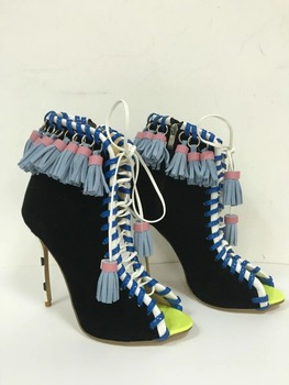 Real picture 2017 fashion mixed colors women boots fringe high heels ankle boots women cross-tied ladies shoes cut-outs pumps